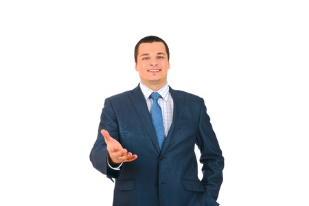 Happy smiling businessman giving hand for an handshake isolated on white background photo