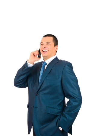Businessman talking with cell phone isolated on white background Stock Photo - 17099056