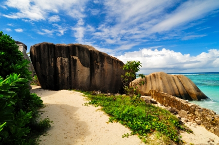 Granite rocks  Seascape, the Seychelles  photo