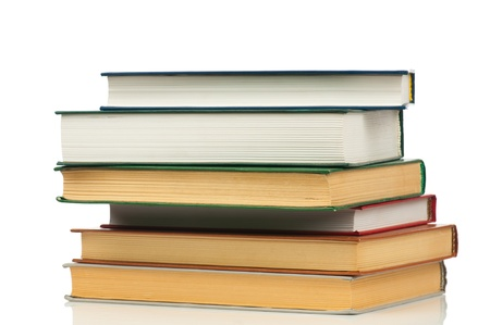Book heap isolated on white background photo