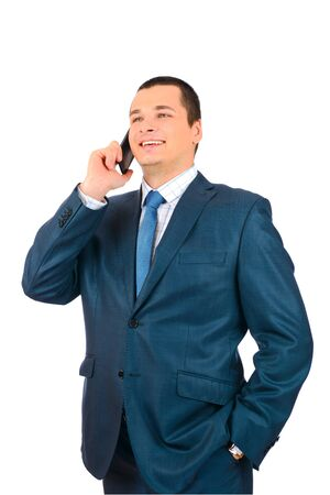 Businessman talking with cell phone isolated on white background Stock Photo - 18096637