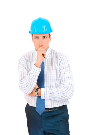Engineer isolated on white Stock Photo - 18096628