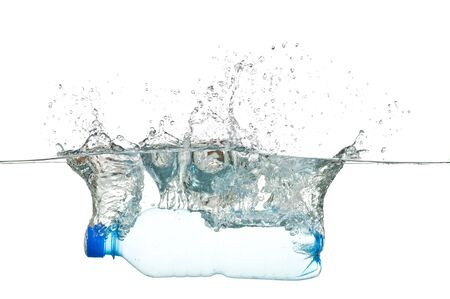purified: Bottle in water isolated on white background