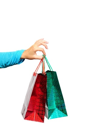 Colourful paper shopping bags isolated on white Stock Photo - 18595012