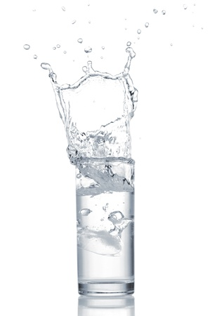 purified: Water in glass isolated on white background