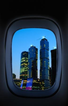 view through: View through an airplane window