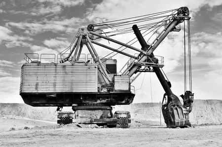Mining industry machine - vintage excavator photo