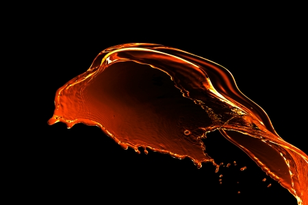 Engine oil splash on black background photo
