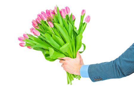 Bouquet of tulips in male hands isolated on white background photo