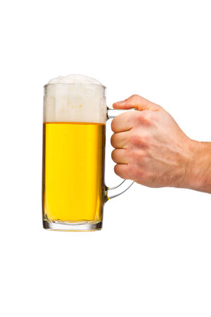 wallop: Hand holding glass of beer