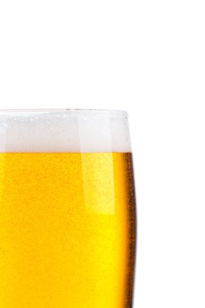 un bottled: Glass of beer isolated on white background Stock Photo
