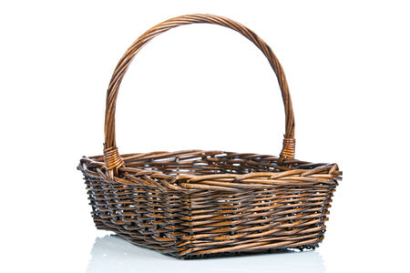 Empty wicker basket isolated on white Stock Photo - 25068239