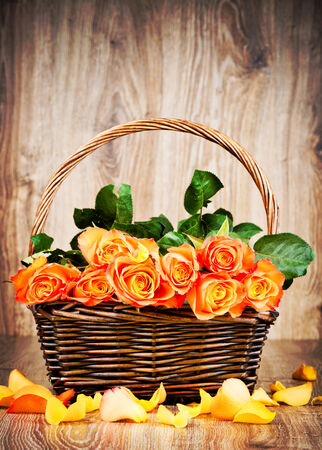 Orange roses in the wicker basket photo