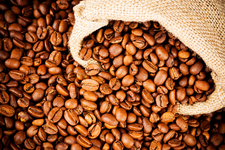 The sack of coffee beans photo