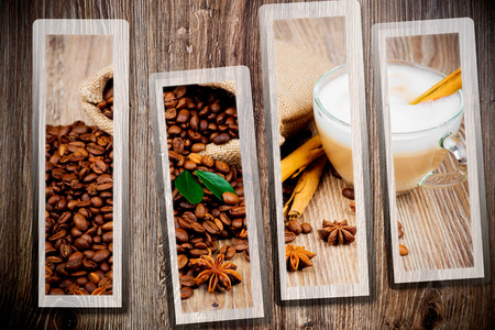 Coffee set on wooden background photo