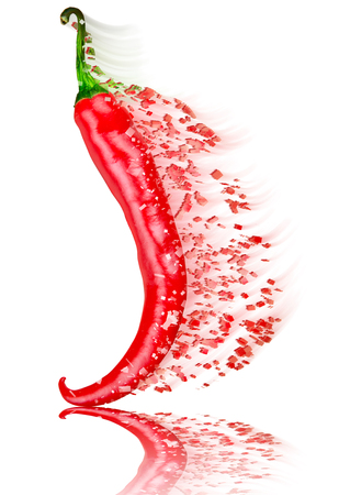 red chilli: Red chilli pepper on white background