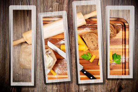 woodenrn: Bread baking set on wooden background Stock Photo