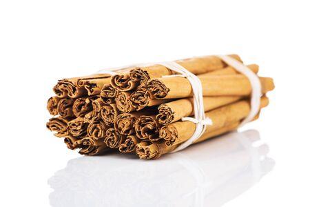 christmas scent: Cinnamon sticks isolated on white Stock Photo