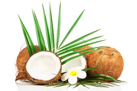 noix de coco: Coconut avec feuille verte Banque d'images