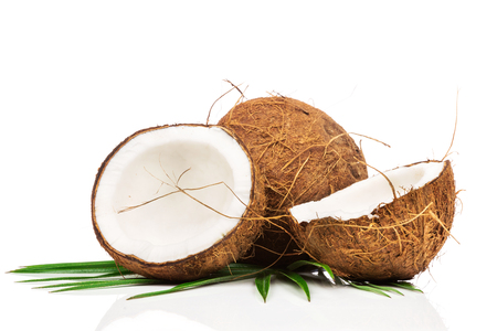 aceite de coco: Coco con hojas verdes sobre fondo blanco Foto de archivo