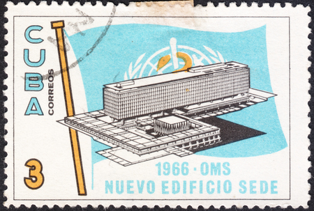 headquarters: MOSCOW, RUSSIA - CIRCA JANUARY, 2016: a post stamp printed in CUBA shows the building of the W.H.O. Headquarters, the series The Inaugauration of W.H.O. Headquarters, Geneva, circa 1966 Editorial
