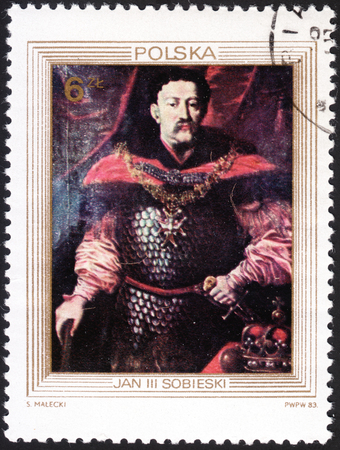sobieski: MOSCOW, RUSSIA - JANUARY, 2016: post stamp printed in POLAND shows portrait of King John III Sobieski, series The 300th Anniversary of the Victory over the Turks in the Battle of Vienna, circa 1983 Editorial