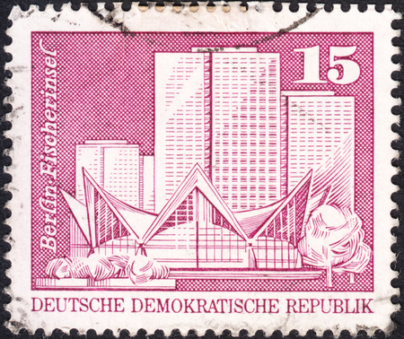 ddr: MOSCOW, RUSSIA - JANUARY, 2016: a post stamp printed in DDR shows Fishermans Island view, the series Berlin Buildings, circa 1973