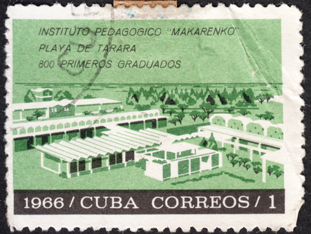 pedagogical: MOSCOW, RUSSIA - CIRCA JANUARY, 2016: a post stamp printed in CUBA shows the building of the Makarenko Pedagogical University, the series Educational Development, circa 1966 Editorial