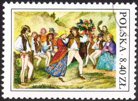 mirth: MOSCOW, RUSSIA - CIRCA JANUARY, 2016: a post stamp printed in POLAND shows Highlanders wedding dance with a rod, the series Polish folk habits, circa 1977