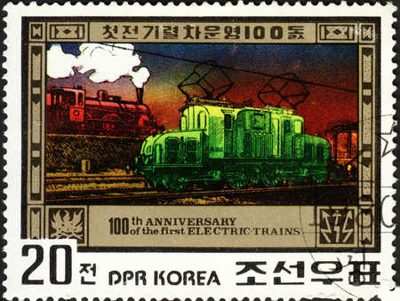 postmail: MOSCOW, RUSSIA - DECEMBER, 2015: a post stamp printed in the NORTH KOREA shows a train, the series The 100th Anniversary of First Electric Train, circa 1980