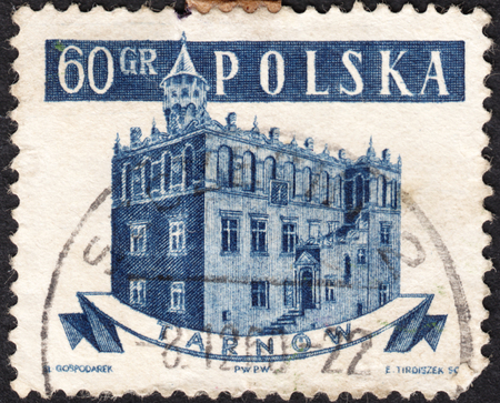 town halls: MOSCOW, RUSSIA - CIRCA JANUARY, 2016: a post stamp printed in POLAND shows a Town Hall, Tarnow, the series Town Halls, circa 1958 Editorial
