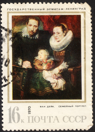 postmail: MOSCOW, RUSSIA - JANUARY, 2016: a post stamp printed in the USSR shows the painting The family portrait by Van Dyck, the series Foreign Paintings in Soviet Museums, circa 1970 Editorial