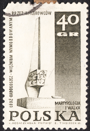 martyrdom: MOSCOW, RUSSIA - JANUARY, 2016: a post stamp printed in POLAND shows a Monument, the series Memorials for the Sacrifices of World War II, circa 1967