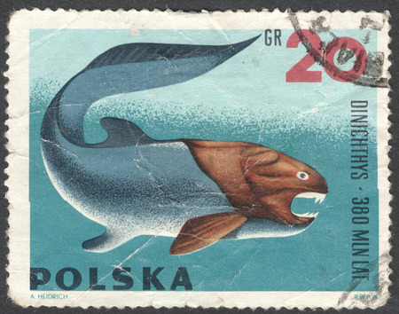 prehistoric animals: MOSCOW, RUSSIA - CIRCA JANUARY, 2016: a post stamp printed in POLAND shows an animal Dinichthys, the series Prehistoric Animals, circa 1966
