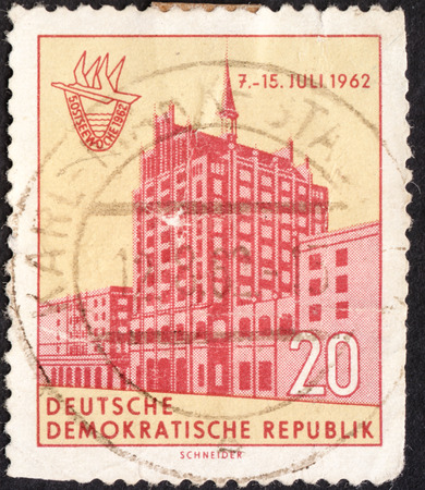 ddr: MOSCOW, RUSSIA - JANUARY, 2016: a post stamp printed in DDR shows an old building, devoted to the 5th Baltic Week, circa 1962 Editorial