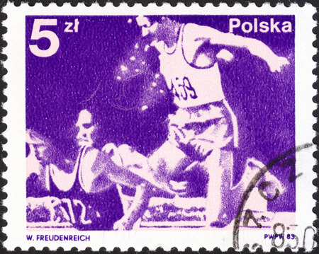 olympic games: MOSCOW, RUSSIA - DECEMBER, 2015: a post stamp printed in POLAND, the series Polish Medals at the Olympic Games in Moscow 1980, USSR, circa 1983
