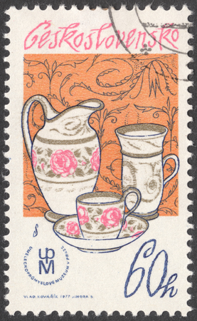 czechoslovak: MOSCOW, RUSSIA - JANUARY, 2016: a post stamp printed in CZECHOSLOVAKIA shows  tableware, the series Czechoslovak Porcelain, circa 1977