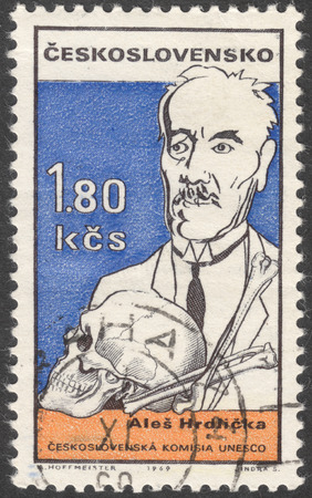 anthropologist: MOSCOW, RUSSIA - CIRCA FEBRUARY, 2016: a post stamp printed in CZECHOSLOVAKIA shows a portrait of A. Hrdlicka, the series UNESCO - Cultural Personalities of the 20th Cent. in Caricature, circa 1969 Editorial