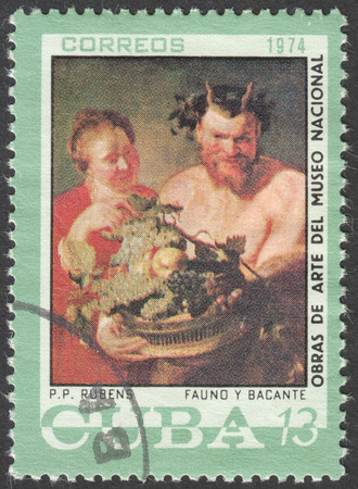 postmail: MOSCOW, RUSSIA - CIRCA FEBRUARY, 2016: a post stamp printed in CUBA shows painting by Rubens, the series National Museum Paintings, circa 1974