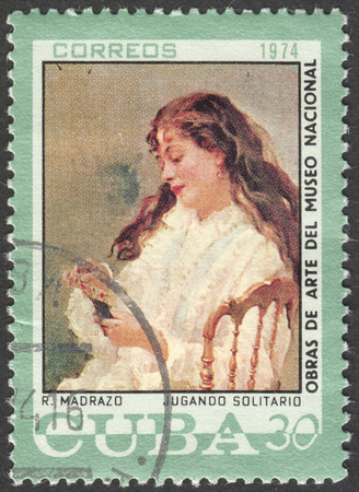postmail: MOSCOW, RUSSIA - CIRCA FEBRUARY, 2016: a post stamp printed in CUBA shows painting by Madrazo, the series National Museum Paintings, circa 1974