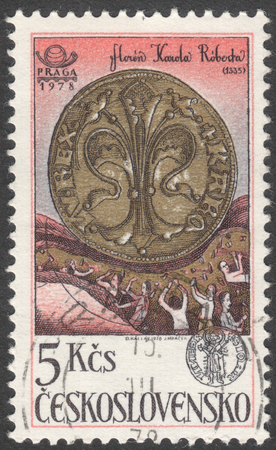 florin: MOSCOW, RUSSIA - CIRCA FEBRUARY, 2016: a post stamp printed in CZECHOSLOVAKIA shows a coin Gold Florin, the series The 650th Anniversary of Kremnica Mint, circa 1978 Editorial