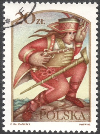 estampilla: MOSCOW, RUSSIA - CIRCA FEBRUARY, 2016: a post stamp printed in POLAND shows Janosik the Robber, the series Polish legends, circa 1986