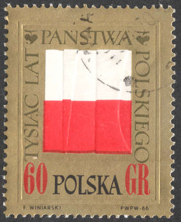 postmail: MOSCOW, RUSSIA - CIRCA JANUARY, 2016: a post stamp printed in POLAND shows the Polish flag,  the series Poland 1000 years, circa 1966