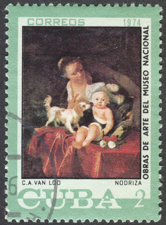 loo: MOSCOW, RUSSIA - CIRCA FEBRUARY, 2016: a post stamp printed in CUBA shows painting by Van Loo, the series National Museum Paintings, circa 1974 Editorial