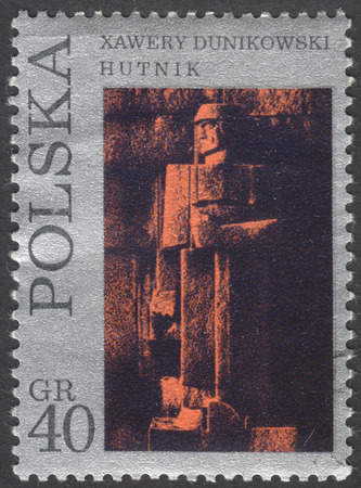 philatelic: MOSCOW, RUSSIA - CIRCA FEBRUARY, 2016: post stamp printed in POLAND showsa sculpture Steel mill worker. by X. Dunikowski, the series The 11th national philatelic exhibition in Szczecin, circa 1971 Editorial