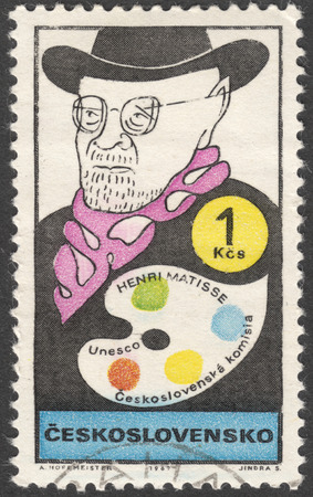 MOSCOW, RUSSIA - CIRCA FEBRUARY, 2016: a post stamp printed in CZECHOSLOVAKIA shows a portrait of Henri Matisse, the series UNESCO - Cultural Personalities of the 20th Cent in Caricature, circa 1969