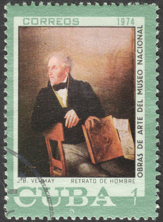 postmail: MOSCOW, RUSSIA - CIRCA FEBRUARY, 2016: a post stamp printed in CUBA shows painting by Vermay, the series National Museum Paintings, circa 1974 Editorial