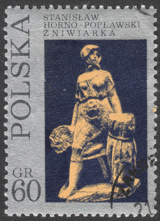 philatelic: MOSCOW, RUSSIA - CIRCA FEBRUARY, 2016: post stamp printed in POLAND showsa sculpture Female mower by S. Horno-Poplawski , the series The 11th national philatelic exhibition in Szczecin, circa 1971