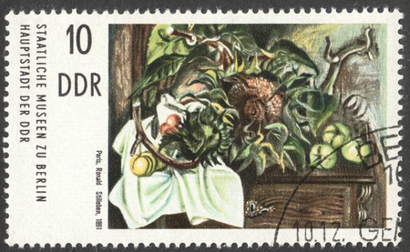 ddr: MOSCOW, RUSSIA - CIRCA FEBRUARY, 2016: a stamp printed in DDR shows a painting Still life by Ronald Paris, the series Berlin. Municipal gallery, circa 1974 Editorial