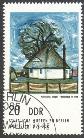 house series: MOSCOW, RUSSIA - CIRCA FEBRUARY, 2016: a stamp printed in DDR shows a painting Fisherman House in Witte by Harald Hakenbek, the series Berlin. Municipal gallery, circa 1974